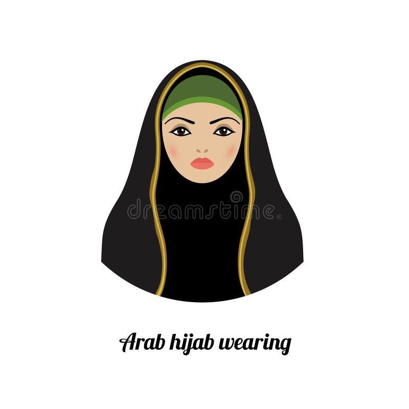 Moslemischer Mädchenavatara Asiatisches moslemisches traditionelles hijab Tragen stock abbildung