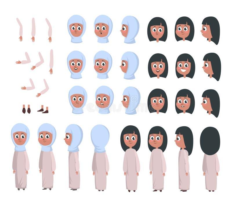 Moslemischer Mädchencharaktererbauer Karikaturmädchen im traditionellen Kleidungserbauer mit verschiedenen Gefühlen, Front, Rücks stock abbildung