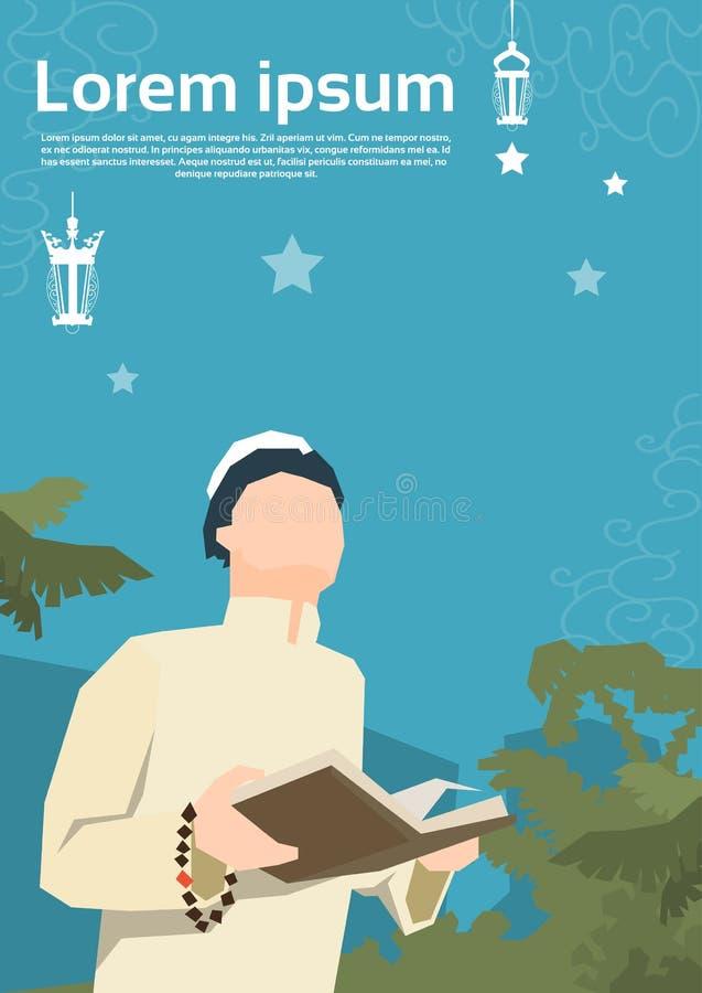 Moslemischer Mann beten den offenen Koran Ramadan Kareem Religion Holy Month lizenzfreie abbildung