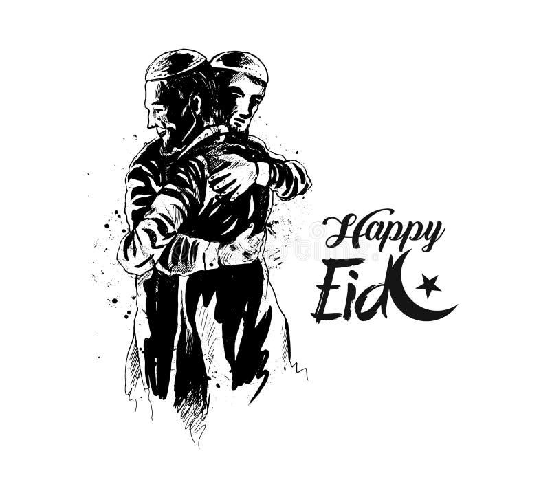 Moslemischer Mann, der miteinander von Eid umarmt und bei Gelegenheit wünscht lizenzfreie abbildung