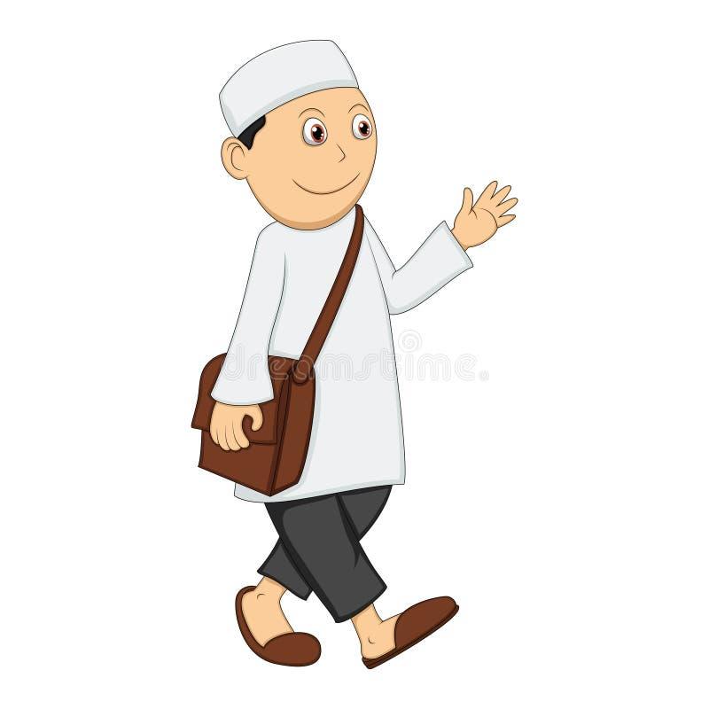 Moslemischer Mannweg, Lächeln und bewegen seine Hand wellenartig stock abbildung