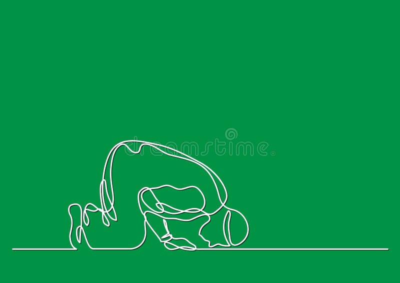 Moslemisches Beten - Federzeichnung der einzelnen Zeile stock abbildung