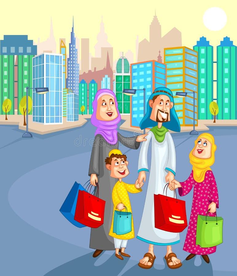 Moslemisches Familieneinkaufen mit Kind vektor abbildung