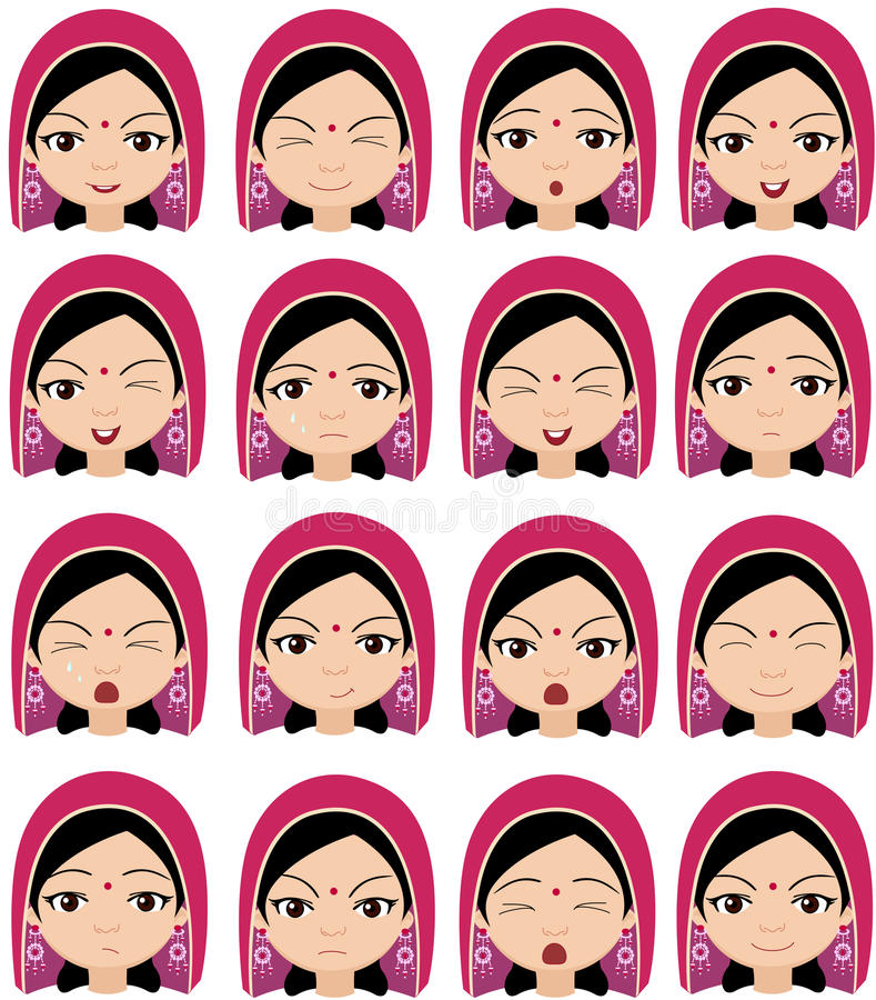 Moslemisches Mädchen in den Gefühlen eines Kopfschmucks: Freude, Überraschung, Furcht vektor abbildung