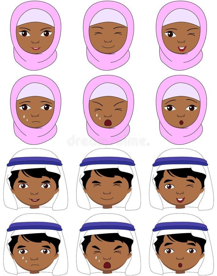 Moslemisches Mädchen in einem burqa und Junge in ein keffiyeh Gefühlen: Freude, surp vektor abbildung