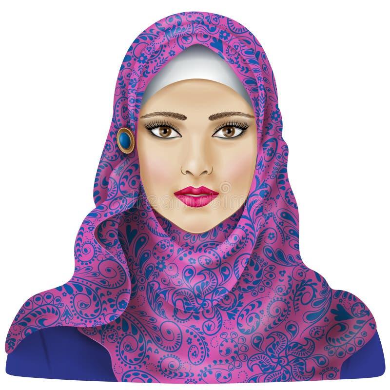 Moslemisches Mädchen im hijab lizenzfreie abbildung