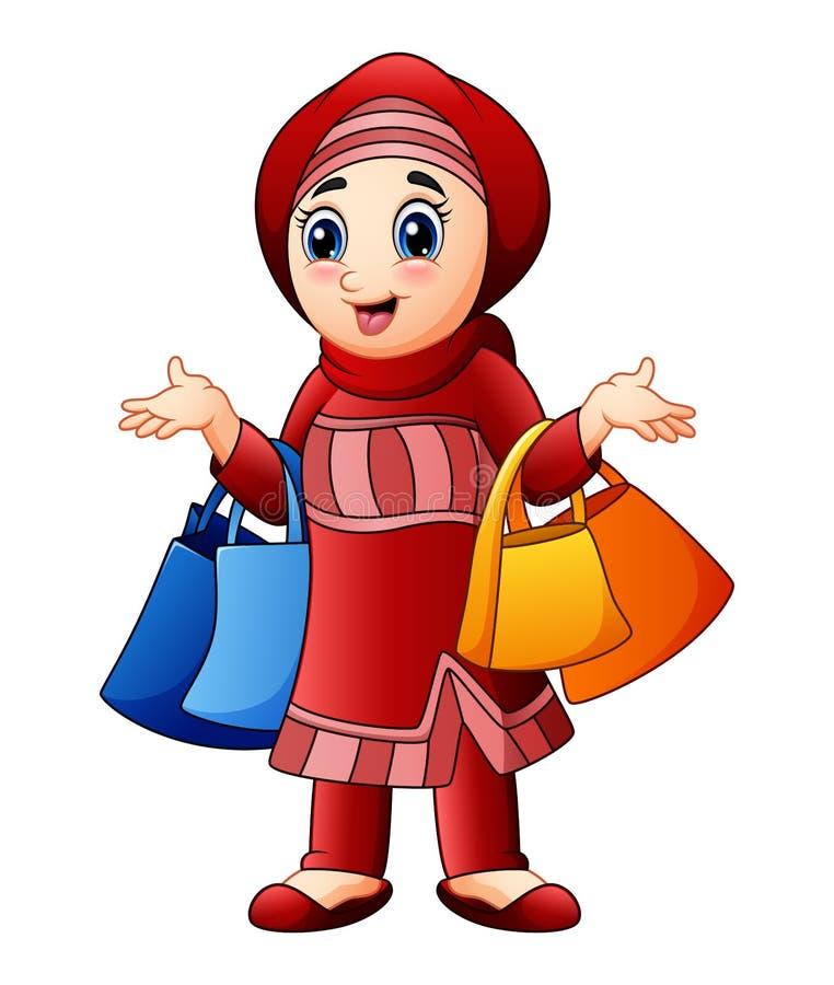 Moslemisches Mädchen, welches die Einkaufstasche trägt rote Kleidung hält stock abbildung