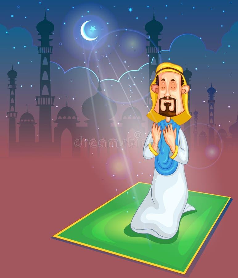 Moslems Angebotnamaaz auf Eid vektor abbildung