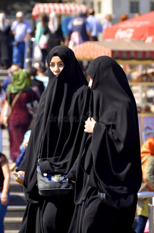 Moslems verschleierte Frauen stockbild