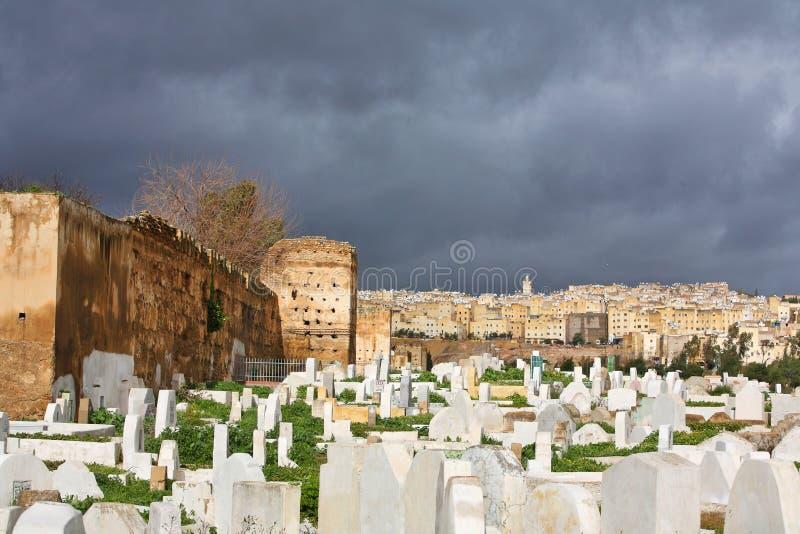 Moslim begraafplaats. Fes, Marokko stock afbeeldingen