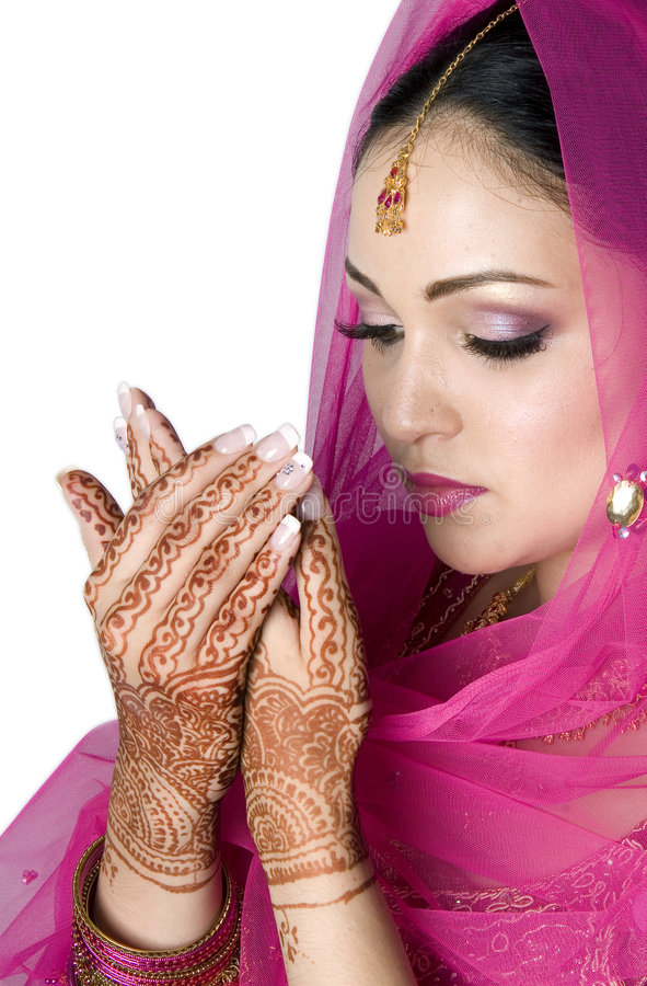Moslim Bruid in Gebed royalty-vrije stock afbeelding
