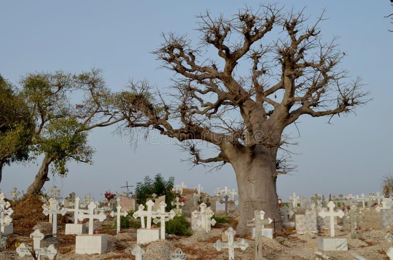Moslim en Christelijk kerkhof in joal-Fadiouth, Tengere CÃ'te, Senegal stock afbeeldingen