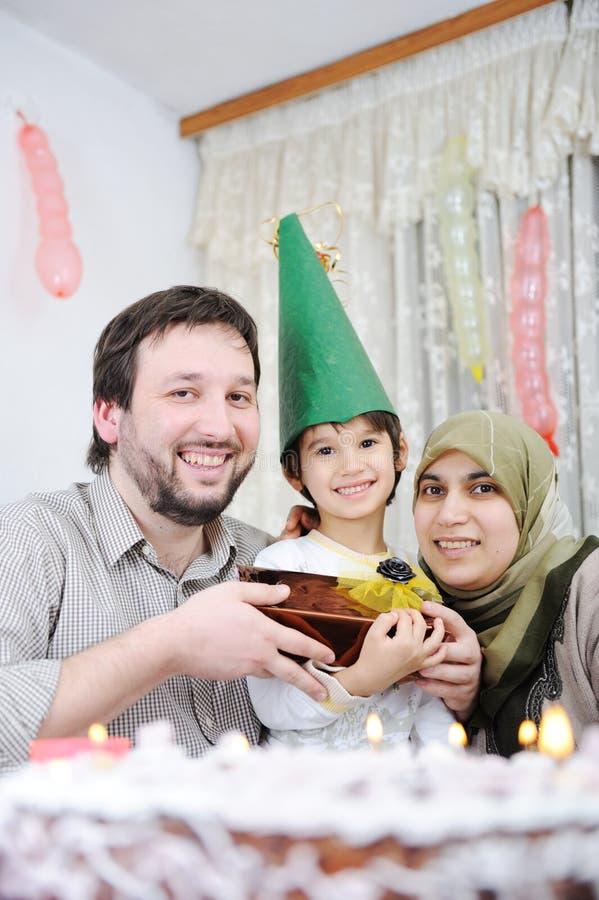 Moslim familieverjaardag royalty-vrije stock afbeeldingen