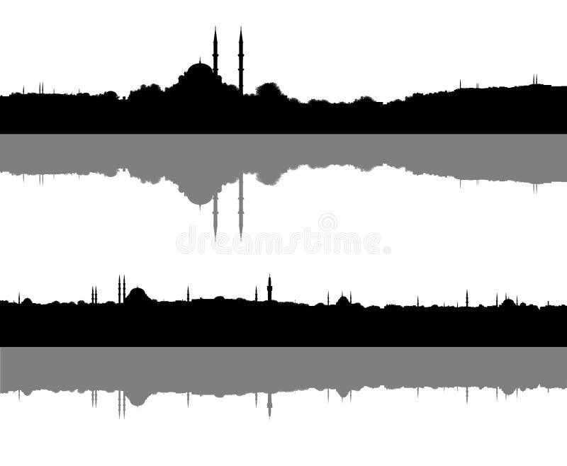 Moslim geplaatste stadssilhouetten vector illustratie