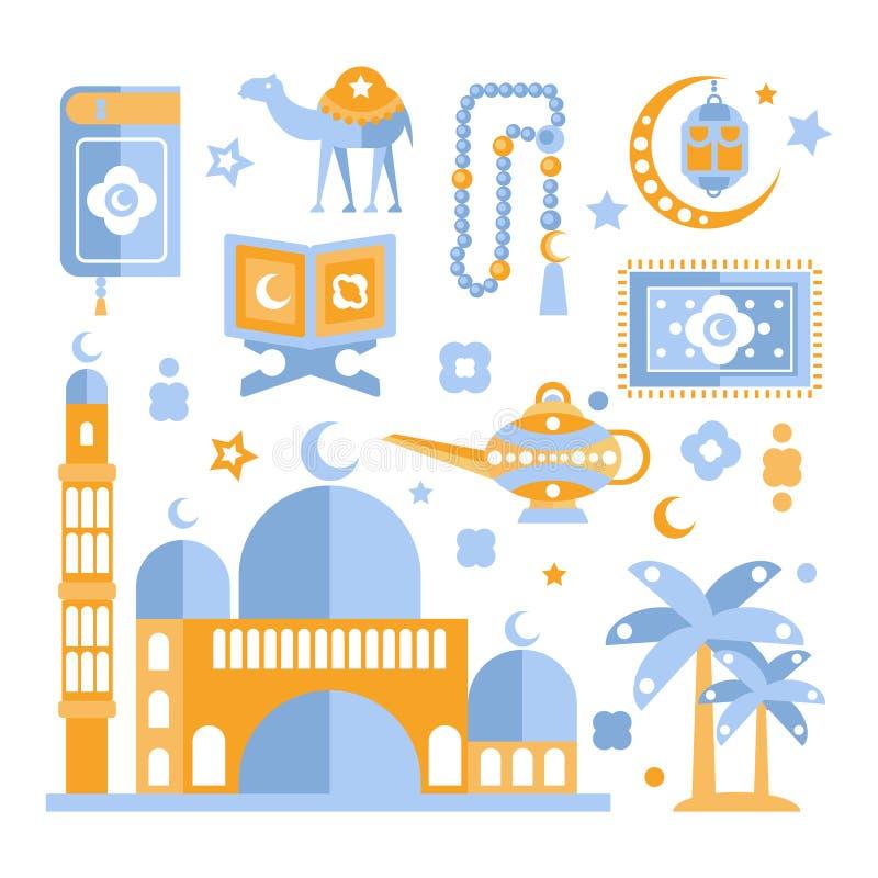 Moslim Godsdienstige Geplaatste Vakantiesymbolen stock illustratie