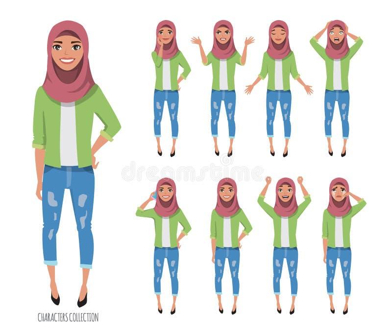 Moslim jonge vrouw die hijab dragen De reeks emoties en stelt stock illustratie