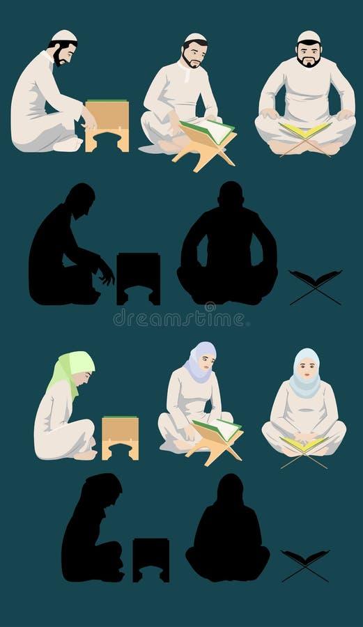 Moslim Mannen & Vrouwen die Heilige Quran lezen royalty-vrije illustratie