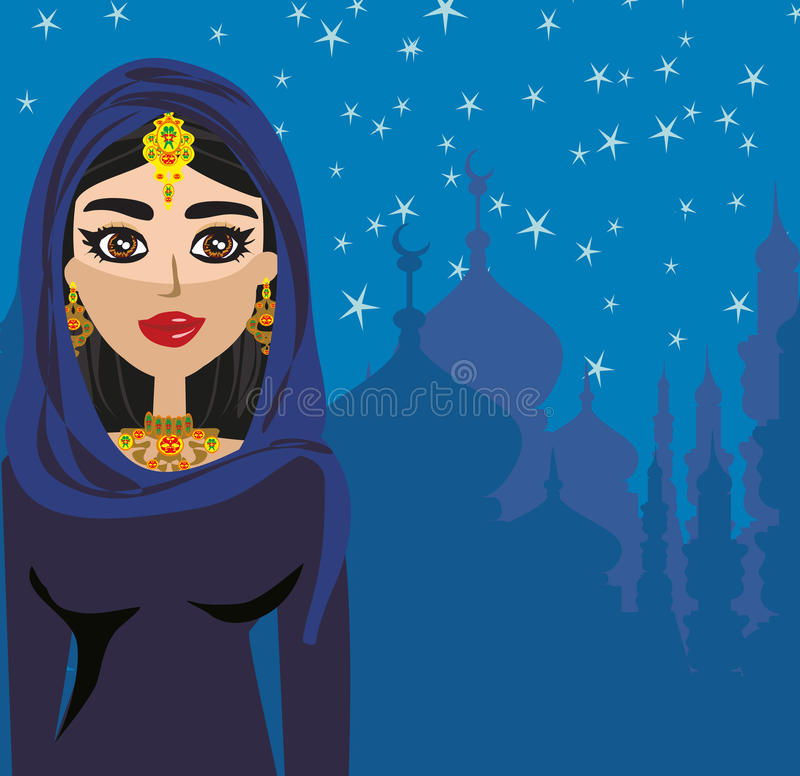 Moslim mooi meisje in hijab vector illustratie