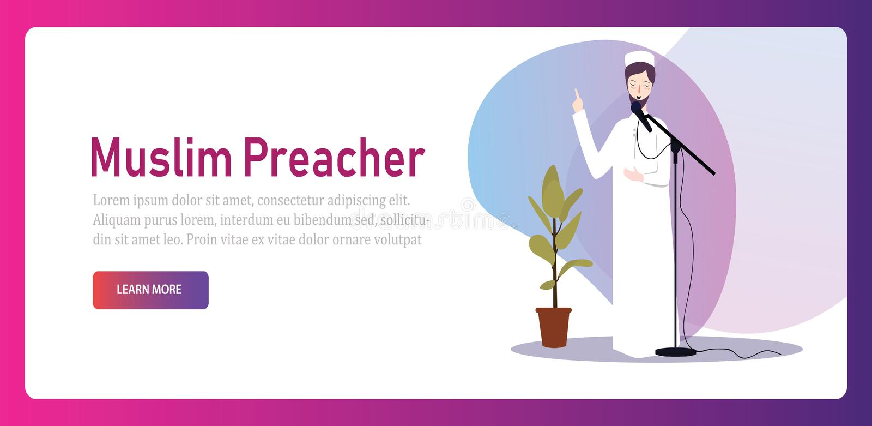 Moslim van het het geloofs Arabische gebed van de Islamprediker godsdienstige het karakter mannelijke geestelijke spreker royalty-vrije illustratie