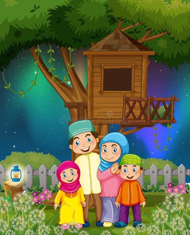 Moslimfamilie in de tuin bij nacht royalty-vrije illustratie