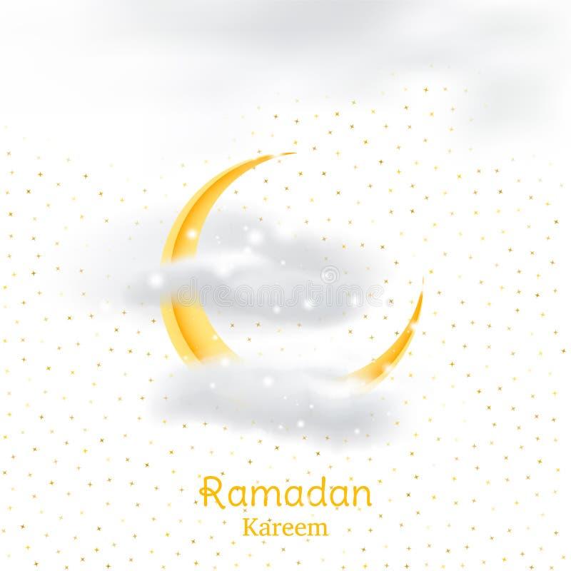 Moslimfeest van de heilige maand van Ramadan Kareem Het malplaatje van de groetkaart met toenemende maan en wolk met lichteffecte royalty-vrije illustratie