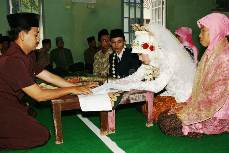 Moslimhuwelijksceremonie stock foto