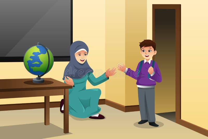 Moslimjong geitje en Leraar in een Klaslokaal stock illustratie