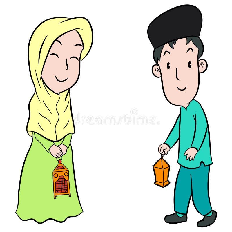 Moslimjonge geitjes met Eid-het ontwerp van het lantaarnsbeeldverhaal - Vectorillustrati stock illustratie