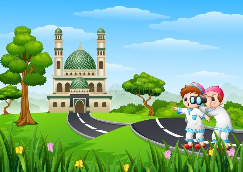 Moslimjonge geitjesbeeldverhaal in de straat met verrekijkers vector illustratie