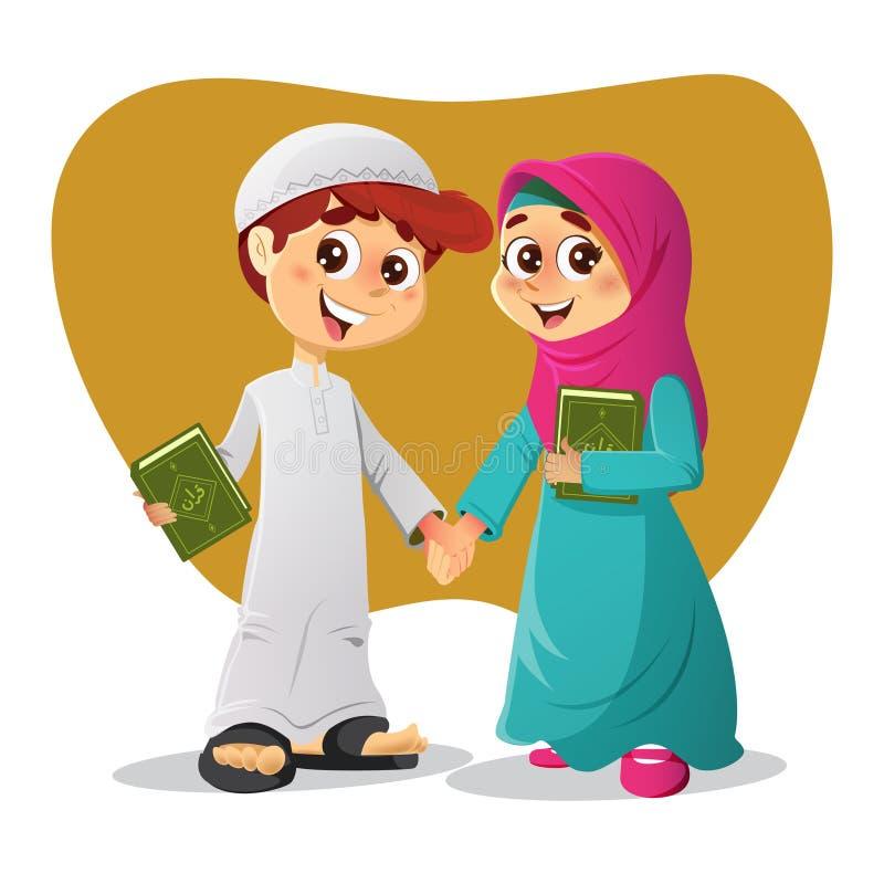 Moslimjongen en Meisje met Heilig Quran-Boek royalty-vrije illustratie