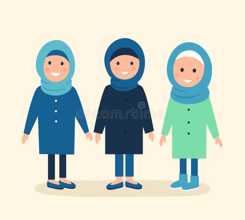Moslimmeisjes of Vrouwen die Hijabs dragen Vector graphhics vector illustratie