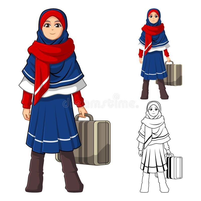 Moslimmeisjesmanier die Blauwe Rode Sluier of Sjaal met het Houden van een Koffer en een de Winteruitrusting dragen stock illustratie