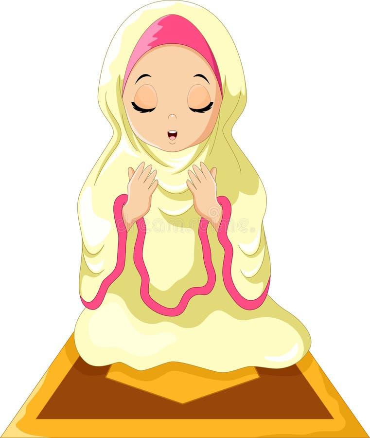 Moslimmeisjeszitting op de gebeddeken terwijl het bidden royalty-vrije illustratie