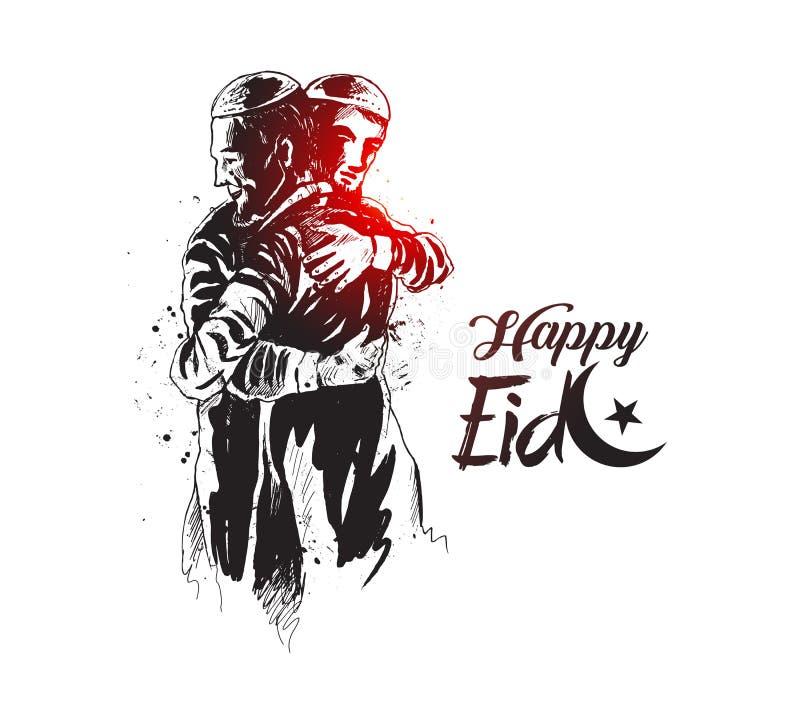 Moslimmens die en aan elkaar bij gelegenheid van Eid koesteren dit wensen royalty-vrije illustratie