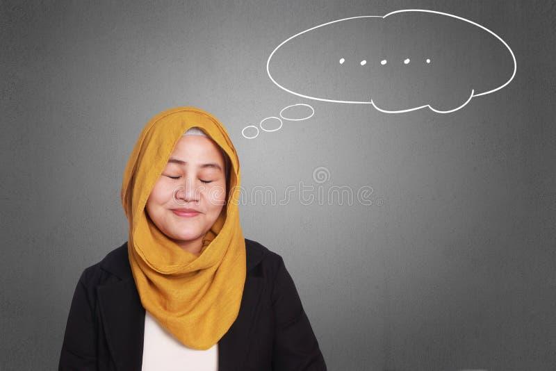 Moslimonderneemster Dreaming royalty-vrije stock fotografie