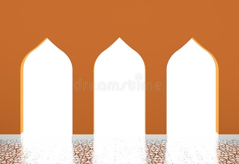 Moslimstijlbogen, Islamitische architectuur royalty-vrije illustratie