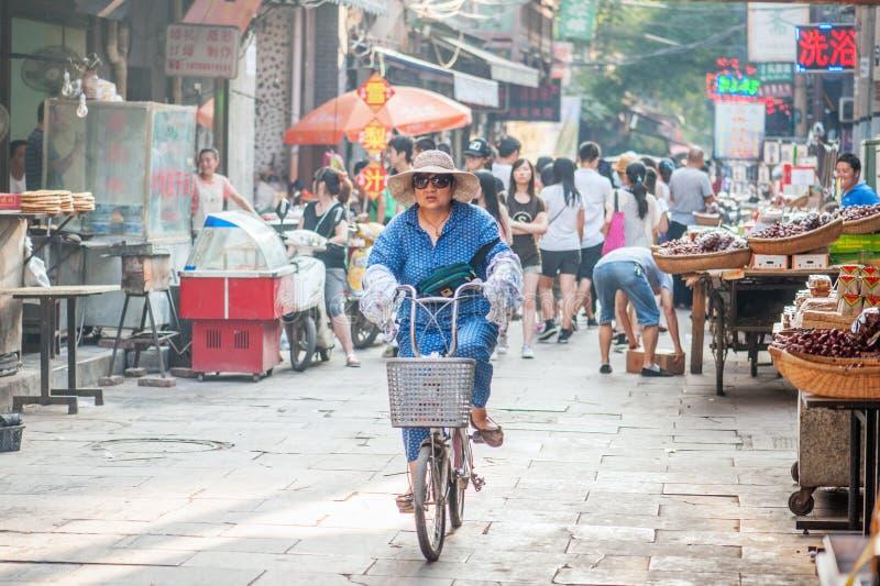 Moslimstraat in Xian, China stock fotografie