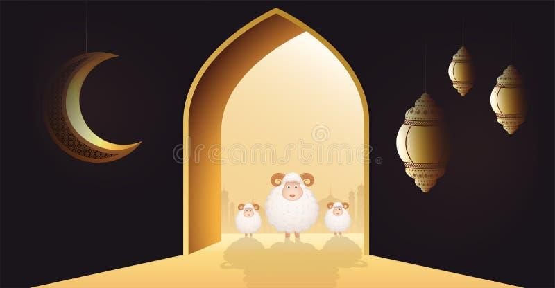 Moslimvakantie Eid Al-Adha De witte schapen of offeren een ram bij deur van een moskee met toenemende maan en lantaarns royalty-vrije illustratie