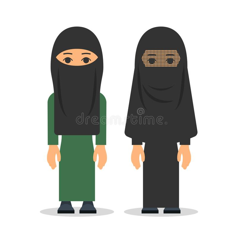 Moslimvrouw of Arabische vrouw in hijab De vrouwen bevinden zich in traditio royalty-vrije illustratie