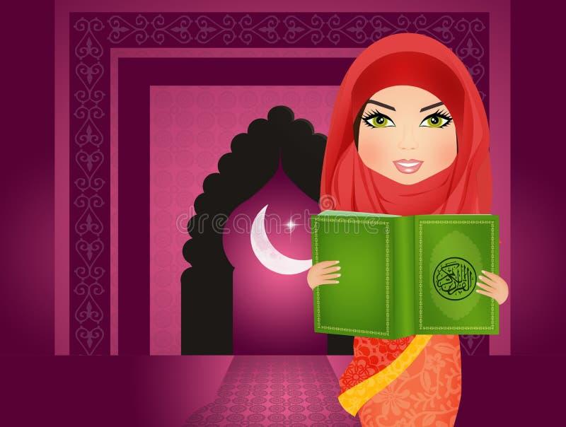 Moslimvrouw die heilig Islamitisch boek Coran lezen stock illustratie