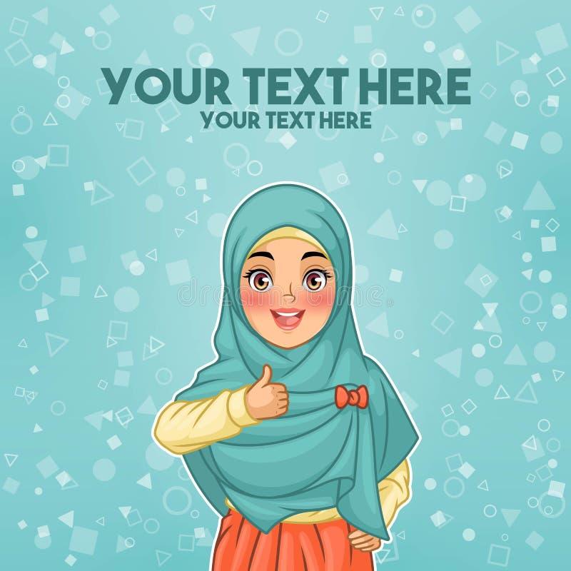 Moslimvrouw die hijab geven omhoog dragen duimen vector illustratie