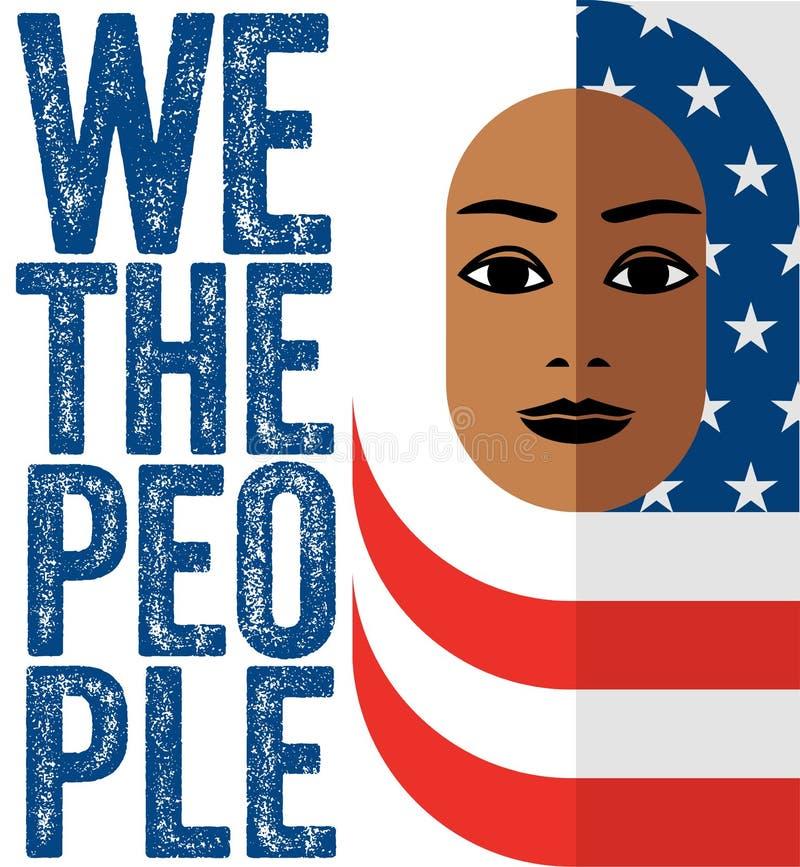 Moslimvrouw die Hijab van de Amerikaanse vlag dragen, stock illustratie