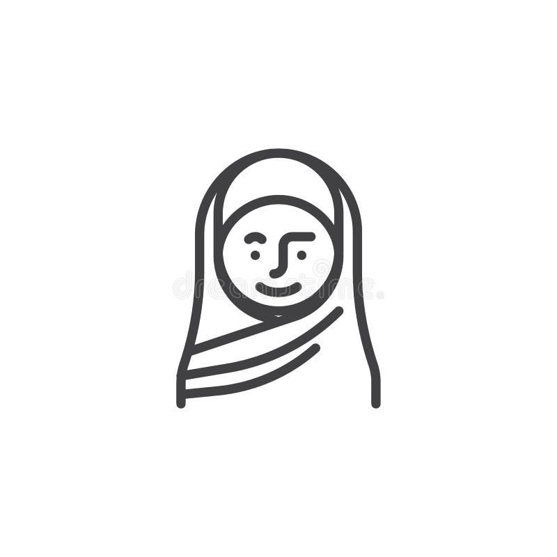 Moslimvrouw in een pictogram van de hijablijn vector illustratie