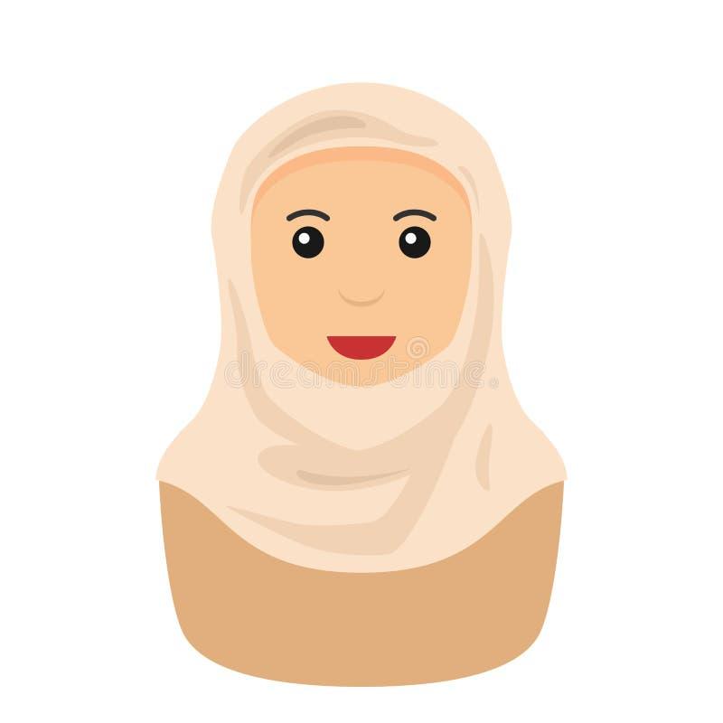 Moslimvrouw met Hijab-Avatar Vlak Pictogram royalty-vrije illustratie