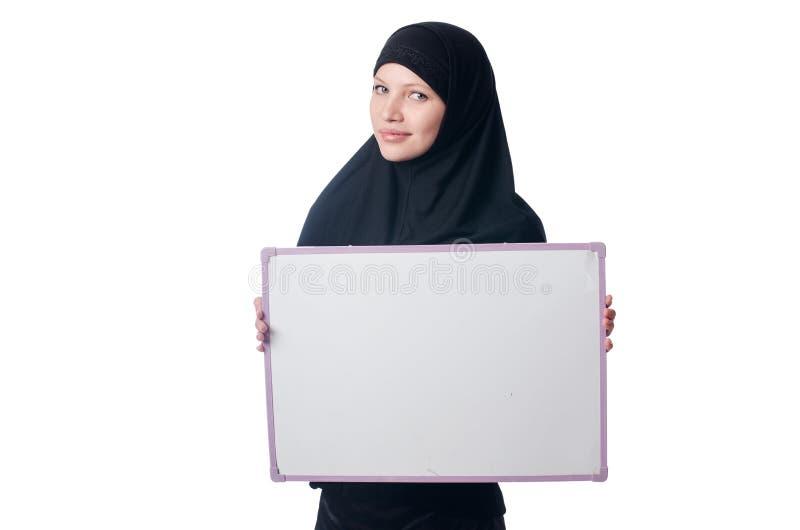 Moslimvrouw met lege raad
