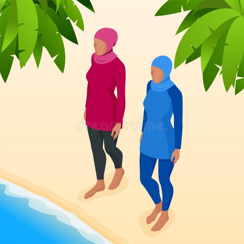 Moslimvrouw in zwempak vector illustratie