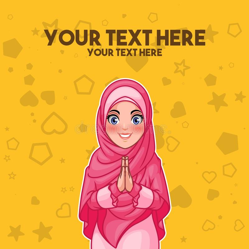 Moslimvrouwengroet met het welkom heten handen stock illustratie