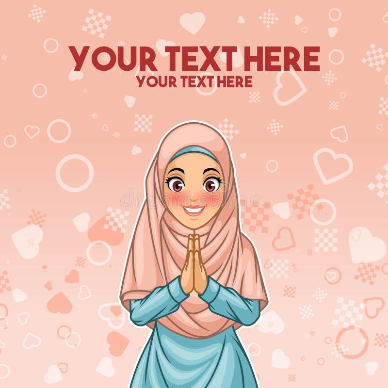 Moslimvrouwengroet met het welkom heten handen royalty-vrije illustratie