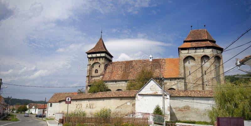 Mosna加强了教会, Sighisoara,特兰西瓦尼亚,罗马尼亚 库存照片