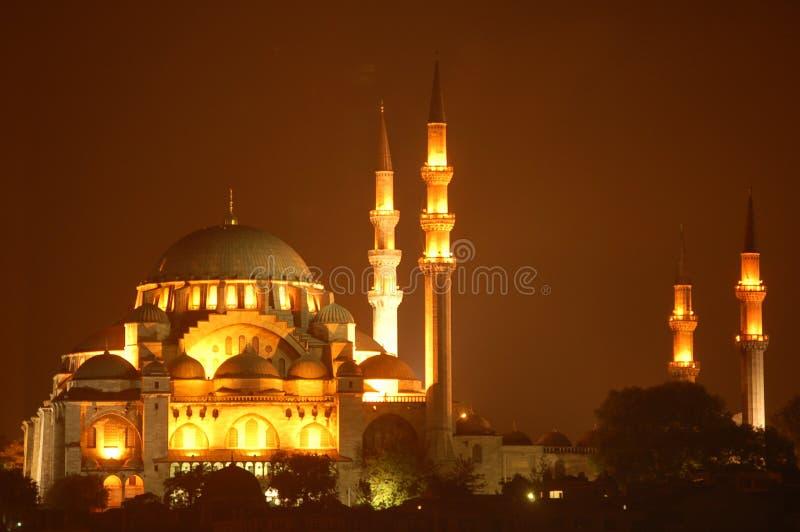 Mosquée bleue par nuit images stock